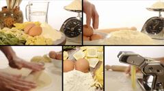 Italian food, pasta collage Stock Footage