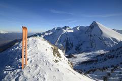 ski touring exploration - stock photo