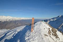 Ski touring exploration Stock Photos