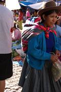 quechua indian women bargain - stock photo