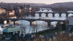 Sunset on Vltava river in Prague with boats. Stock Footage