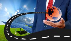 new road for sustainable energy concept, solar energy - stock illustration