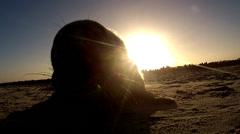 Grey seal on island Helgoland - winter Stock Footage