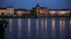 Prague River Front At Night - stock footage