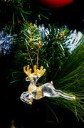 Reindeer antlers toy hanging on christmas tree Stock Photos
