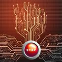 Stock Illustration of Stop button on circuit board in Tree shape, Technology background