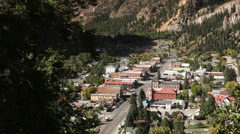 Mountain Town Overlook Alpine Setting Stock Footage