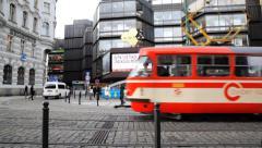 Prague Street Tram Stock Footage