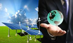 Stock Illustration of solar cell business
