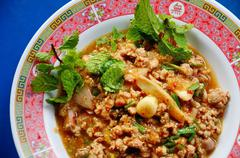 spicy minced pork in thai style - stock photo