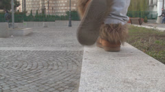 Young Female Walks On The Boarderline Stock Footage