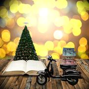 Travel with motorcycles in Christmas day, Guidebook concept - stock illustration