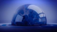 sci-fi ribbon surround glass metal tech digital ball & float circle. - stock footage