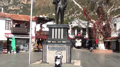 Baby in Pushchair at the pedestal of Ataturk tilt Stock Footage