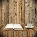 Stock Illustration of Read book with coffee in library concept
