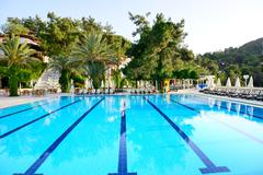 Swimming pool on turkish resort, fethiye, turkey Stock Photos