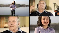 Generations concept. Kid and senior's life moments collage. Stock Footage