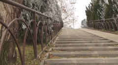 Young Woman Slowly Walks Up The Stairs In The Park Stock Footage