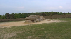 Havelte Hunebed, a Megalithic Tomb + zoom in Stock Footage