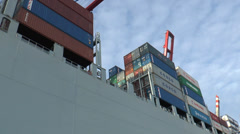 Port of Hamburg - Container ship from water to sky Stock Footage