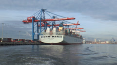 Port of Hamburg - Container ship - zoom in Stock Footage