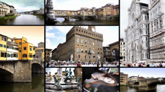 Florence. Cityscapes, buildings and art collage. Stock Footage