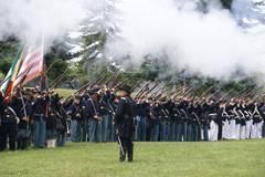 Union infantry line firing Stock Photos