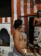 Brahmin priests of shiva prepare sacred fire for ceremonies .. Stock Photos