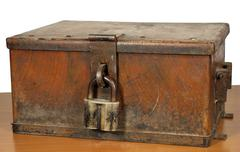 Vintage strongbox of brown color with the lock. Stock Photos