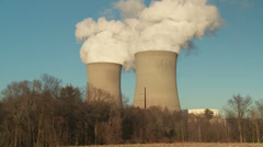 Nuclear Power Plant Cooling Towers 3 Stock Footage