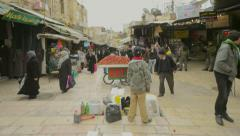 Jerusalem outdoor market in time lapse Stock Footage
