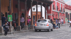 Tourism.Life in a small colonial town in Central America Stock Footage