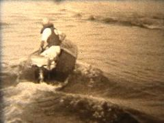 1940's Racing Boat Stock Footage