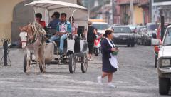 Streets of Antigua Guatemala, the ancient Mayan city Stock Footage