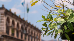 Flags at City Hall Antigua Guatemala 1 Stock Footage