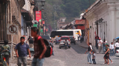 Walking people.Colonial town in Guatemala-Chichicastenango Stock Footage