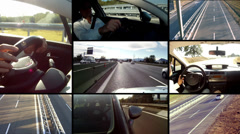 Highway. Cars and drivers montage. Spectacular pov. Stock Footage
