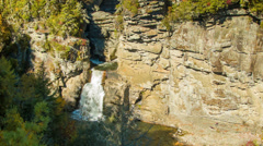 Linville Falls, NC from Above on Sunny Autumn Day Stock Footage
