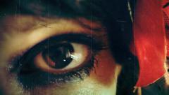 Eye macro woman vintage film Stock Footage