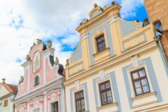 facade of renaissance houses in telc - stock photo