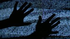 Mysterious Hands on Static TV Screen - stock footage