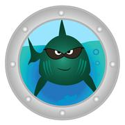 evil fish looks in to porthole - stock illustration