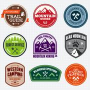 Outdoors badges - stock illustration