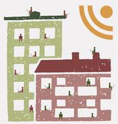 Residents of an building using social networks rss Stock Illustration