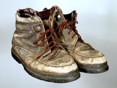 The old worn out boots with brown laces on  wooden to a floor. Stock Photos