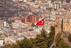Turkish Flag Alanya Stock Photos