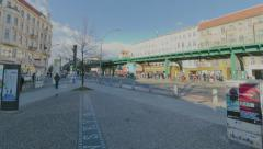 Berlin subway car in time lapse going over a bridge Stock Footage