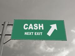 A notice board on a national highway showing cash next exit, concept Stock Illustration