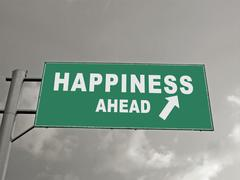 Stock Illustration of a notice board on a national highway showing happiness ahead, concept