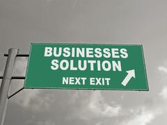 Stock Illustration of a notice board on a national highway showing businesses solutions next exit,